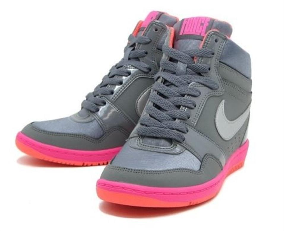 2198fadc94b Nike Grey Silver Pink Orange Force Sky High Hidden Wedge Sneakers ...