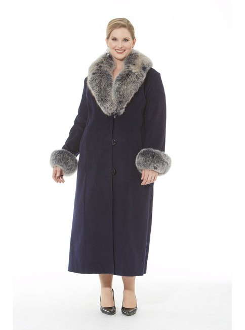 madisonavemall Cashmere Long Fur Collar Plus-size Coat Image 1