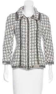 Chanel Silk Tweed Wool Boucle Lace Trimmed CC Logo 09P Black White Jacket 38