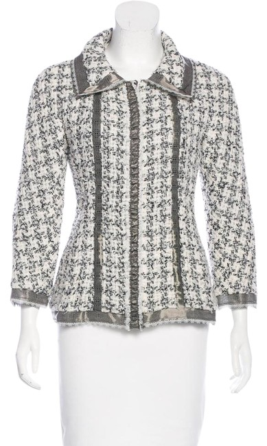Preload https://img-static.tradesy.com/item/22050878/chanel-brown-black-white-silk-tweed-wool-boucle-lace-trimmed-cc-logo-09p-jacket-38-skirt-suit-size-4-0-1-650-650.jpg
