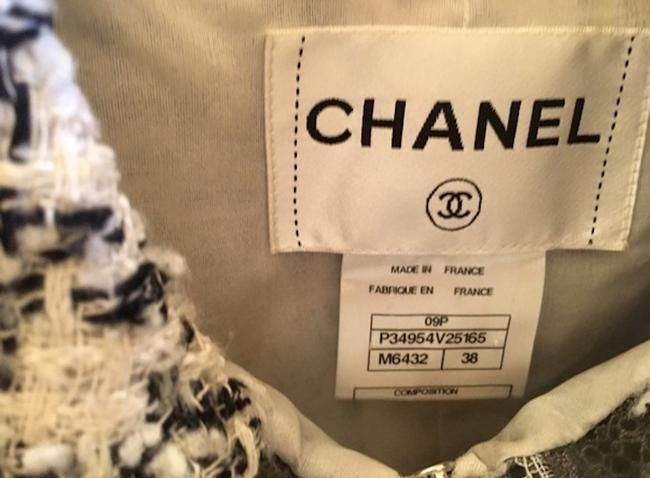 Chanel Silk Tweed Wool Boucle Lace Trimmed CC Logo 09P Black White Jacket 38 Image 10