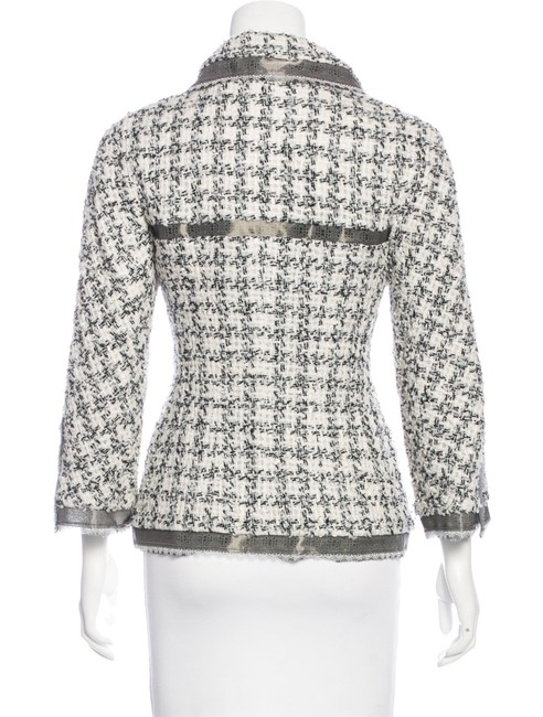 Chanel Silk Tweed Wool Boucle Lace Trimmed CC Logo 09P Black White Jacket 38 Image 4