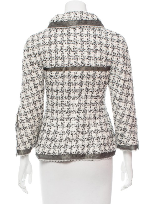 Chanel Silk Tweed Wool Boucle Lace Trimmed CC Logo 09P Black White Jacket 38 Image 5