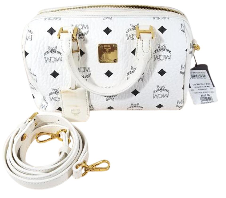 8c311aeae913 MCM  small Heritage Boston  Bowler White Coated Canvas with Leather Trim  Shoulder Bag