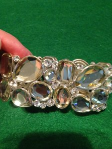 Macy's Silver Tone And Crystal Bracelet