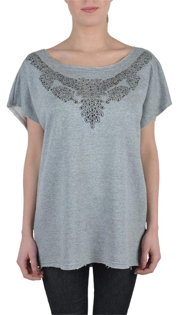 Preload https://img-static.tradesy.com/item/22051043/just-cavalli-gray-beads-decorated-sleeves-women-s-loose-t-shirt-tee-shirt-size-4-s-0-1-650-650.jpg