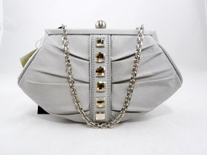 Inge Christopher Studded Crystal Silk Evening Chain Silver Clutch