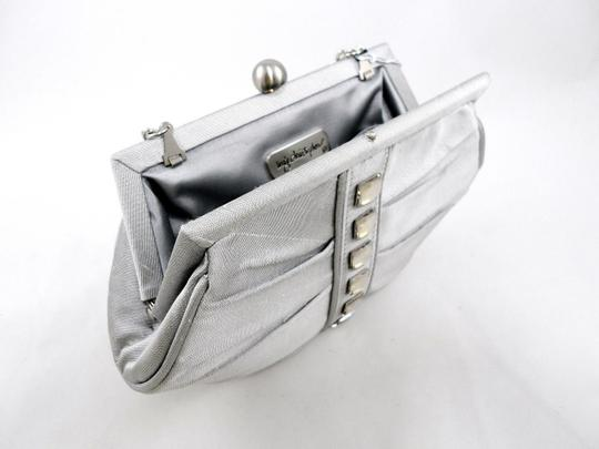 Inge Christopher Studded Crystal Silk Evening Chain Silver Clutch Image 1