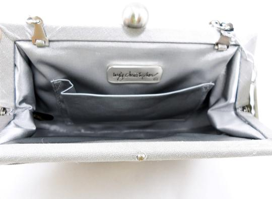 Inge Christopher Studded Crystal Silk Evening Chain Silver Clutch Image 2