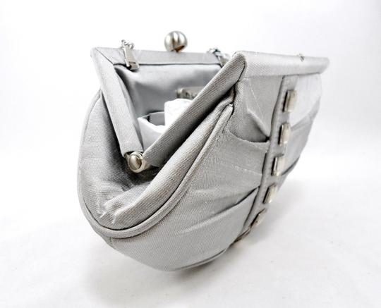 Inge Christopher Studded Crystal Silk Evening Chain Silver Clutch Image 3