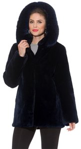 madisonavemall Real Fur Detachable Hood Sheared Beaver Women Ultrawarm Navy blue Jacket