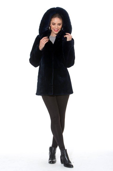 madisonavemall Real Fur Detachable Hood Sheared Beaver Women Ultrawarm Navy blue Jacket Image 1