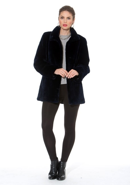 madisonavemall Real Fur Detachable Hood Sheared Beaver Women Ultrawarm Navy blue Jacket Image 2
