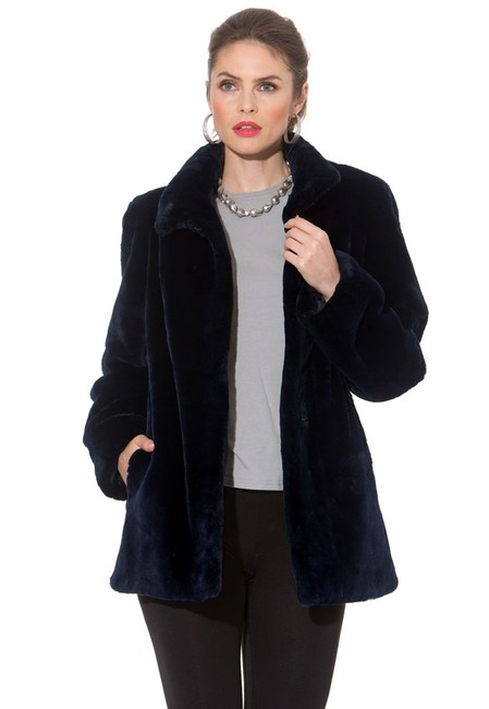 madisonavemall Real Fur Detachable Hood Sheared Beaver Women Ultrawarm Navy blue Jacket Image 3
