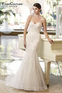 Fiore Couture Gold/Ivory Tulle/Beading Jackie Modern Wedding Dress Size 8 (M)