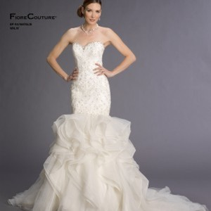 Fiore Couture Ivory Lace/Organza Natalie Modern Wedding Dress Size 8 (M)