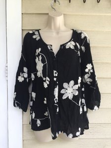 lauren michelle petite Button Down Shirt black/white