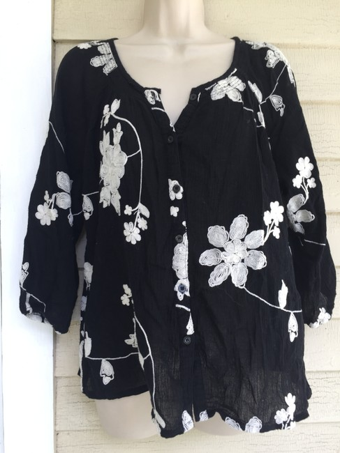 lauren michelle petite Button Down Shirt black/white Image 5