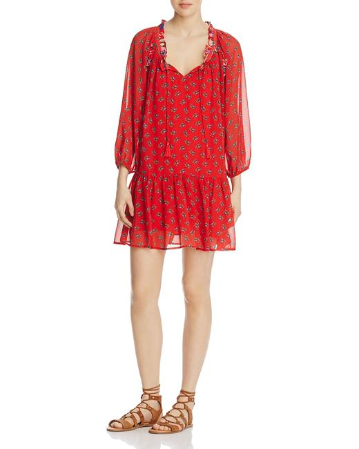 Item - Red Floral Peasant Short Casual Dress Size 4 (S)
