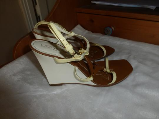 Louis Vuitton WHITE & BROWN Wedges Image 2