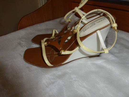 Louis Vuitton WHITE & BROWN Wedges Image 4