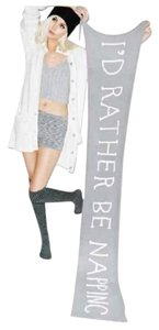 Wildfox NWT Nap Time Chainlink Gray I'd Rather Be Napping Long Fringe Scarf