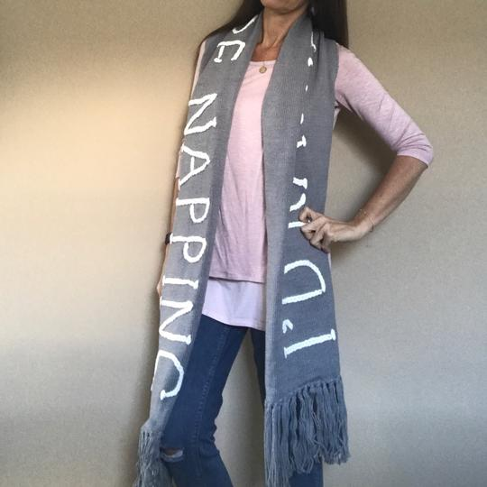 Wildfox NWT Nap Time Chainlink Gray I'd Rather Be Napping Long Fringe Scarf Image 8