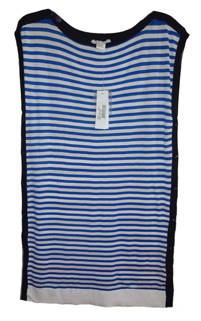 Joan Vass Mixed Stripes Dolman Sleeves Boatneck Button Sides Ribbed Hem Sweater Image 3