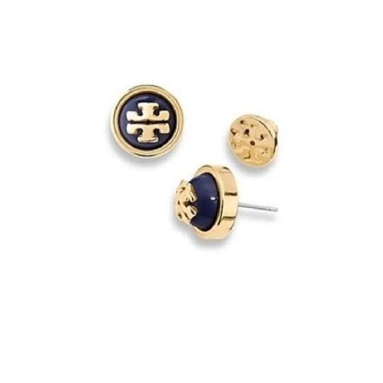 Preload https://img-static.tradesy.com/item/22052101/tory-burch-navy-gold-stud-new-signature-melodie-logo-with-dust-bag-earrings-0-0-540-540.jpg