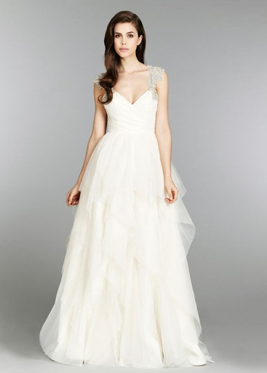 Hayley Paige Ivory English Net/Tulle Carrie 6350 Modern Wedding Dress Size 8 (M) Image 1