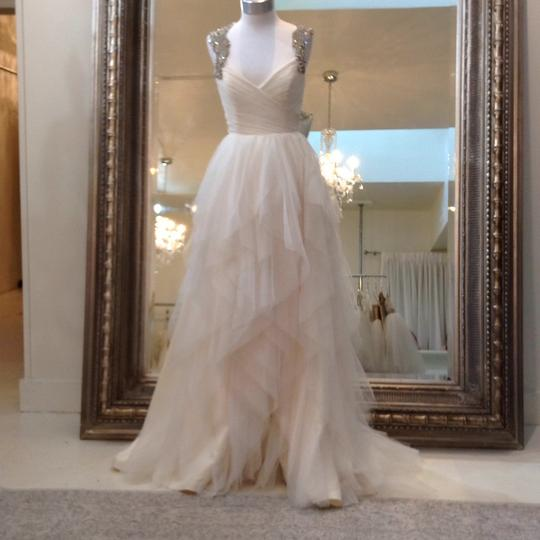 Hayley Paige Ivory English Net/Tulle Carrie 6350 Modern Wedding Dress Size 8 (M) Image 3