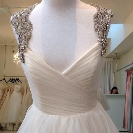 Hayley Paige Ivory English Net/Tulle Carrie 6350 Modern Wedding Dress Size 8 (M) Image 4