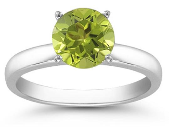 Apples of Gold Peridot Solitaire Ring in Sterling Silver Image 1