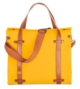Modcloth Faux Leather Cotton Tote in Mustard