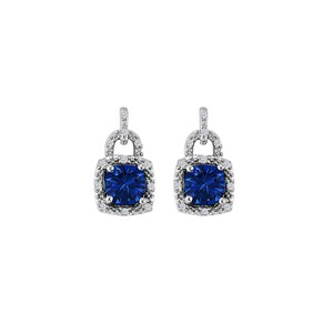 Marco B Sapphire CZ Square Lock Style Earrings Push Back Silver