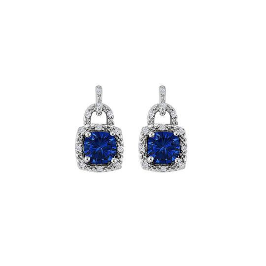 Preload https://img-static.tradesy.com/item/22052343/blue-sapphire-cz-square-lock-style-push-back-silver-earrings-0-0-540-540.jpg