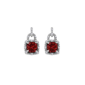 Marco B Lock Style CZ Ruby Square Earrings 925 Sterling Silver