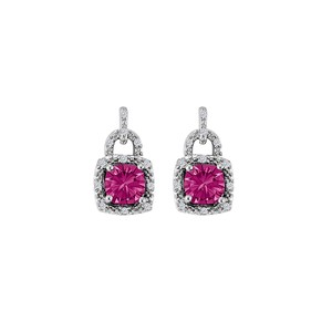 Marco B Romantic Pink Sapphire and CZ Square Stud Earrings
