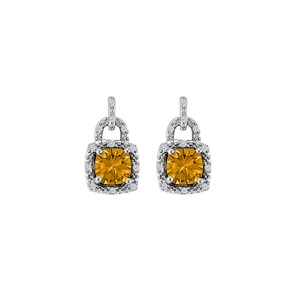 Marco B Unique Design Citrine and CZ Stud Earrings 925 Silver