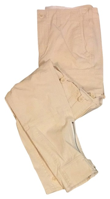 Item - Cream Light Wash Zippered Ankle Pant Cargo Jeans Size 29 (6, M)