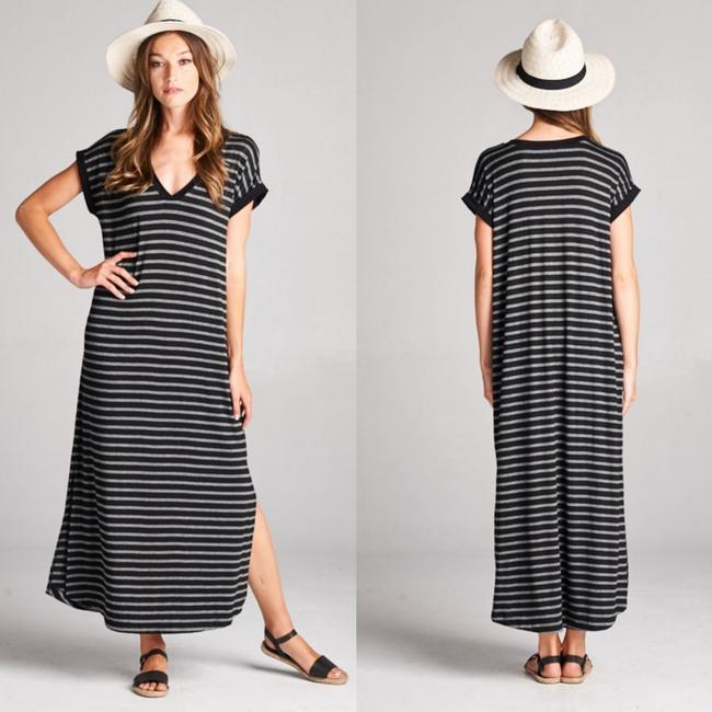 Preload https://img-static.tradesy.com/item/22052548/gray-black-striped-short-sleeve-new-s-m-l-comfy-slits-long-casual-maxi-dress-size-4-s-0-0-650-650.jpg