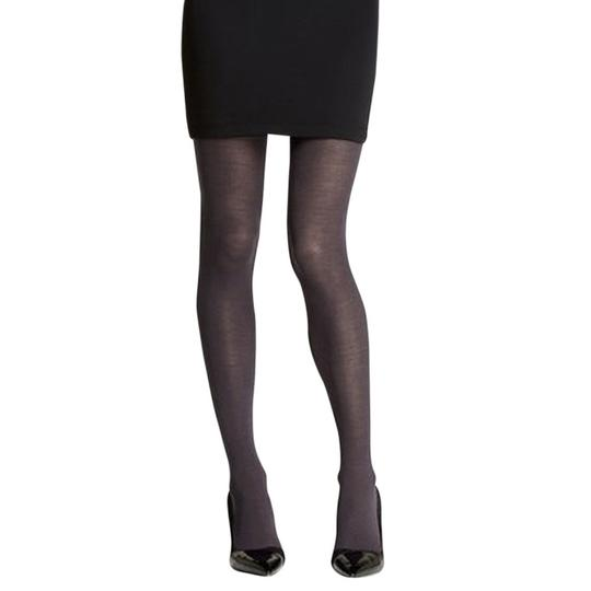 French Curve Cashmere Blend Charcoal Tights - M/L Image 1
