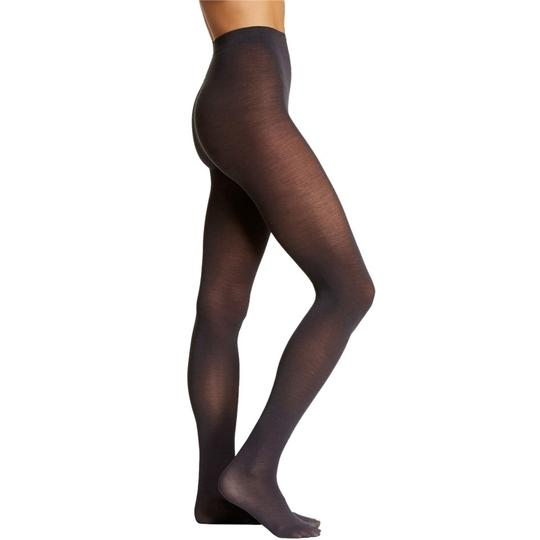 French Curve Cashmere Blend Charcoal Tights - M/L Image 2