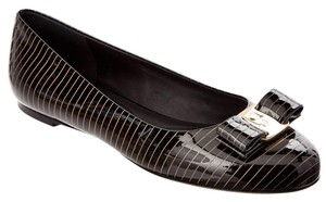 Salvatore Ferragamo Varina Patent Leather Ballerina Black with Gold Stripe Flats