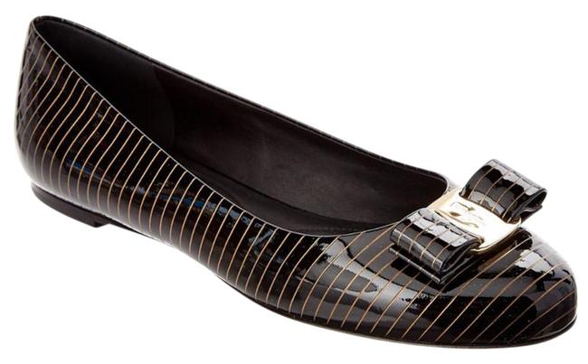 Item - Black with Gold Stripe Varina Patent Ballerina Flats Size US 8 Wide (C, D)