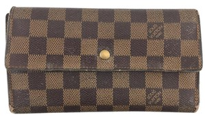 Louis Vuitton #13928 Damier Ebene long large Flap Trifold Wallet international card