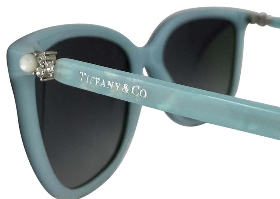 4c15795ddbb Tiffany   Co. Black Silver Light Blue Powder New Cat Eye Crystal Pearl Woman  Tf4105-h-b 8055 3c Blk-slv Logo Sunglasses