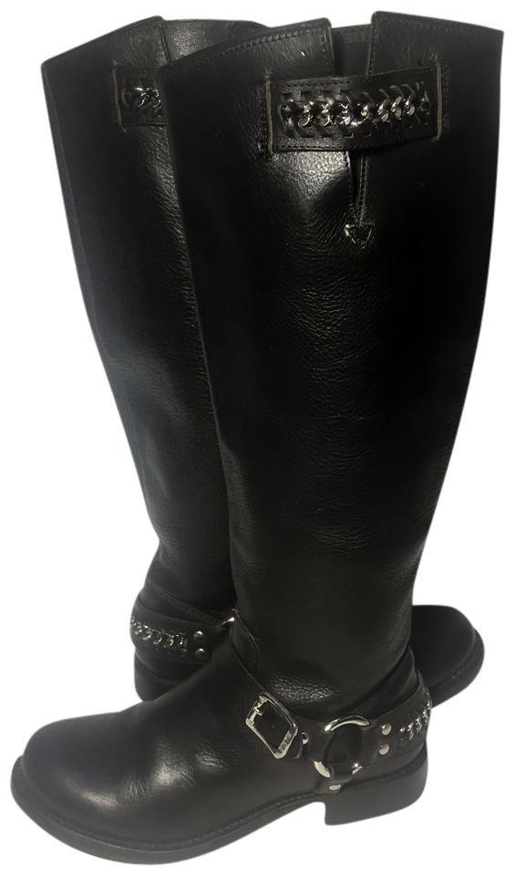 Frye Black 77637 Jenna Chain Boots/Booties Tall Leather Motorcycle Women Boots/Booties Chain 752923
