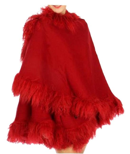 Item - Red Lamb Wool Wrap Fur Trimmed Oversized Cape Shawl Poncho One Coat Size OS (one size)