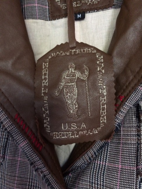 My Tribe Trimmed Tan leather with plaid design Jacket